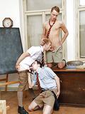 Threesome sex in a classroom