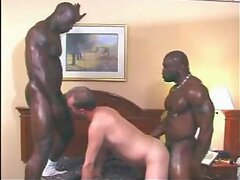 Sweaty black gay men threesome