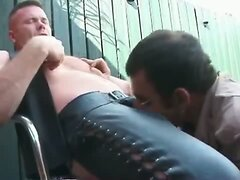 Cop fucks the leather bottom