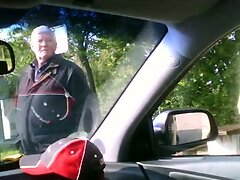 Nasty old man spies for the guy jerking in a car