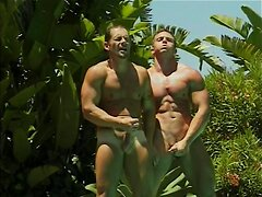Lustful gay hunks fucking by the pool