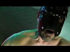 Masked man gets drilled