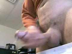 Intensive gay masturbation on camera