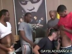 Ebony studs Aron, Cuba, JD and Justin having sex initiation
