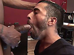 Passionately sucking a big black cock