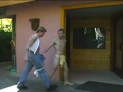 Two guys start their fun outdoor...