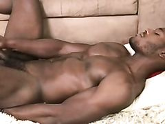 Muscular black stud dreaming of his lover