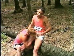 Two guys jerking in the woods