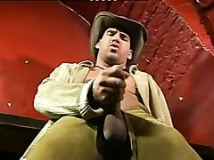 Hot muscular cowboy performs solo