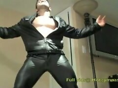 Leather CUM!  New video just added at hotgymnast.com
