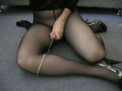 Medyas heavy cumshot on black pantyhose