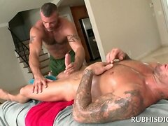 Gay masseur blowing large straight cock with lust