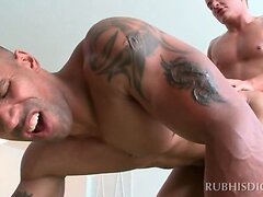 Black masseur gets ass drilled by white horny gay