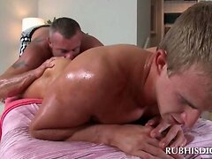 Blonde dude gets ass and dick worked by gay masseur