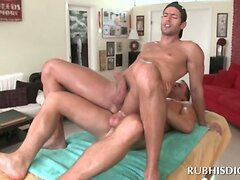 Brunette gay masseur gets his butt nailed by hard dick