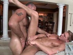 Blonde dude getting tight ass deep fucked by gay masseur