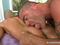 Sexy stud getting his hot ass gay licked and massaged