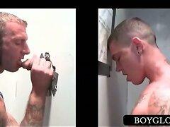 Gloryhole gay boy blowing a straight pecker