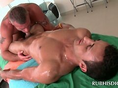 Lusty gay masseur giving this straight dude a blowjob