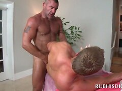 Lucky gay masseur getting dick sucked and ridden