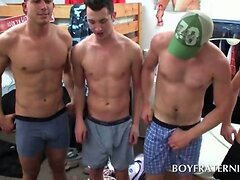 College boys rubbing gay dicks at fraternity sex party