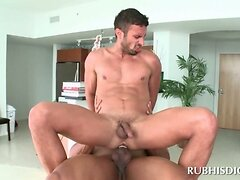 Horny straight dude gets gay anal sex at massage
