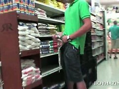 College fraternity candidates rubbing dicks in a store