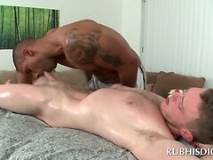 Blowjob with interracial gay couple