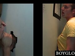 Blond straight guy gets dick gay blown on gloryhole