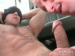 Blindfolded boy tricked into a great gay BJ in the bus