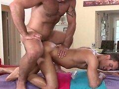 Gay masseur deep nailing his clients butt hole