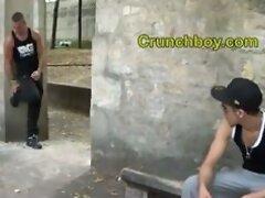 a arab twink suck a muscular boy in a public park