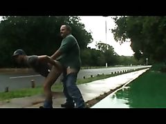 daddy and guy fucking outdoor near road