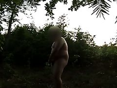 Another naked wank in public forest, NICE SLOWMO CUM AT END.