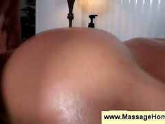 Oiled up ass slowly fucked