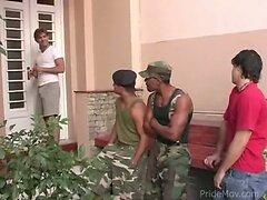 Gay military group sex fun