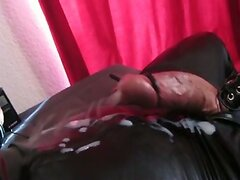 Huge hands free cum shot in catsuit (electro stimulation)