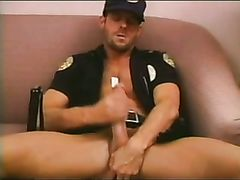 Uniformed Cop jerking & Cigar Smoking