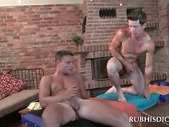 Straight guy jumping gay masseurs hard cock with lust