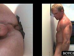 Gloryhole anal sex with horny straight guy
