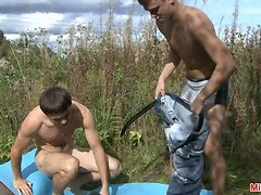 Lustful outdoor gay blowjob