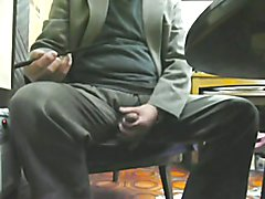 Japanese old man masturbation erect penis semen  scene 2