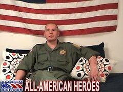 Man in uniform masturbates