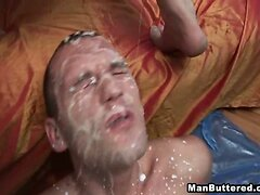 Gay Drops Heavy Cumshots On His Face