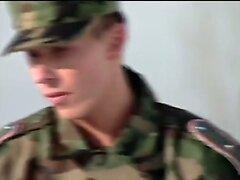 European Muscle  - Military Three way in the Latrine