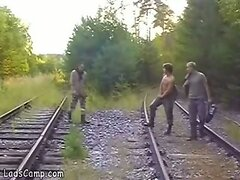 Three young gay hikers filmed banging on railway
