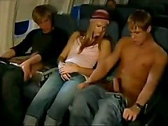 Straight guy fucks guy on public plane