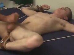Bound Jock gets milked, then teased