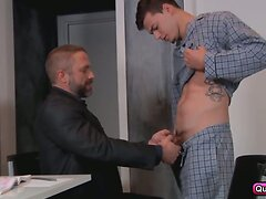Stepfather gives his son a lesson in cock sucking and ass fucking