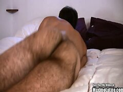 Hairy Brown Twink Jerks It On His Bed